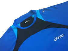 Mens Premium ASICS SS STRETCH RUNNING TOP Training Tee T-Shirt Reflective Blue M