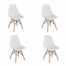 Lot de 4 Chaises avec pieds en bois,  Chaise Scandinave de Salle à manger  Blanc