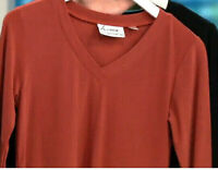 Linea Louis Dell'Olio Moss Crepe V-neck Swing Sweater Top GINGER XL A302557