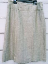 Adec2 Phillipe Adec 100% Linen Olive White Cross-Dyed Pencil Skirt Wms 4