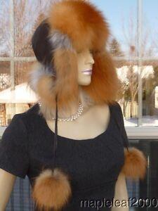BEAUTIFUL NATURAL RED FOX FUR LEATHER TROOPER TRAPPER USHANKA HAT MEDIUM *NEW*