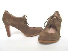 Women's Lands' End Tan Suede Lace Up Wooden Heels Size US 9.5B/ UK 7.5/ EU 41