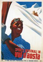 TV42 Vintage A3 1937 Val D'Aosta Italy Italian Ski Skiing Travel Poster Print