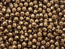 Glass Beads 8mm Faceted Dull Gold 50pc Jewellery Jewelry Spacer FREE POSTAGE