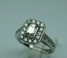 Diamond eng.ring 1.50 cttw;3/4ct emerald cut center 18kt g.ESTATE VINTAGE GEM !!
