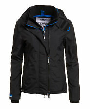 New Womens Superdry Technical Hooded Pop Zip SD-Windcheater Black