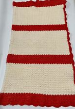 Afghan Blanket Red and White Hand Made Woven Blanket Sofa or Chair Throw WARM