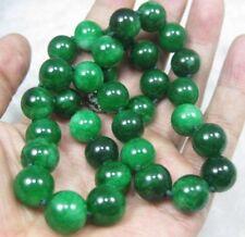 12MM GREEN JADE JADEITE BEADS NECKLACE 18'' JN81