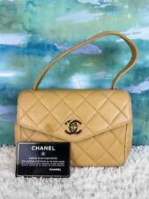 $3800 CHANEL Vintage Beige Lambskin Leather Satchel Bag Top Handle Quilted Mini