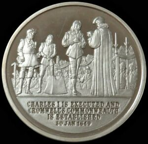 1975 SILVER CHARLES I EXECUTED - SECOND COMMONWEALTH SEAL 40.9 GRAM MEDAL
