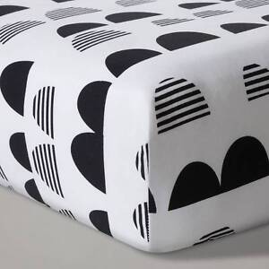 NEW Cloud Island Baby Fitted Crib/Toddler Bed Sheet Black White Scallop Nursery