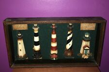 Light House Shadow Box Nautical Wooden Beach Wall Art ~ 5 Lighthouses Display