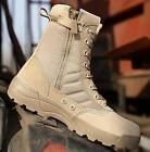 New Military COMBAT Boots Zipper Desert Tan Waterproof Tactical Police fashion #