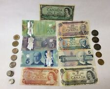 LOT $73.00 CANADIAN CANADA VINTAGE VACATION SPENDABLE CIRCULATED NOTES & COINS