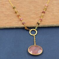 Chary Quartz Gemstone Handmade Gold Plated Necklace 925 Sterling Silver Jewelry