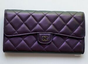 NEW CHANEL LARGE PURPLE IRIDESCENT METALLIC QUILTED LEATHER WALLET CLUTCH