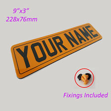 Reflective Outdoor Waterproof Personalised Sign Shatterproof - Yellow 9x3 MTP