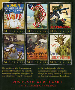 St Kitts 2015 MNH WWI WW1 Posters of World War I United States USA 6v M/S Stamps