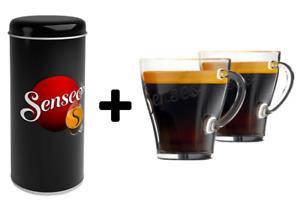 Senseo Paddose + 2 Gläser Tassen Metalldose Aufbewahrungsbehälter Kaffee Tee