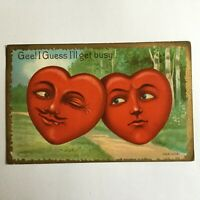 Vintage Humanized Postcard Heart Head's Unwanted Attention Valentine 1910