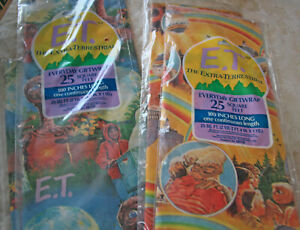 2 Packages 1982 E T The Extra-Terrestrial Movie Wrapping Paper 50 Sq Ft