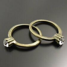 2 CZ Ring Charms Antique Bronze Tone with Imitation Diamond - BC294