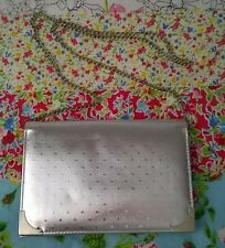 Vintage Silver Star Clutch Hand Bag Detatchable Chain Strap Party Wedding Smart
