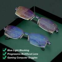 1.0~4.0 Progressive Multifocal Presbyopia Eyeglasses Diamond-cut Reading Glasses