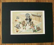 Cat Print Louis Wain Seaside Joys Bookplate 1983 8x10 Matted