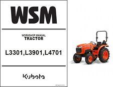 Kubota L3301 L3901 L4701 Tractor WSM Service Manual CD