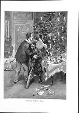 Un moment critique bicyclette étrennes de Noël par A. Schwartz ILLUSTRATION 1900