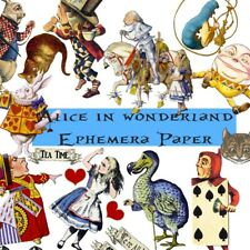 50 Alice in wonderland Ephemera Paper Mad Hatters Tea Party Scrapbooking Kits