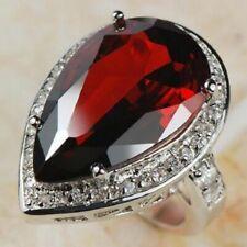 HUGE  Garnet  White Topaz  Ring  925 silver  size 10