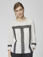 Thought Josete Blouse (WST4026) - Stone - Organic Cotton with Lace detail SALE