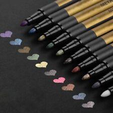 Metallic Metal Marker Paint Pens 10 Assorted Colors Premium Painting Card Makers