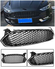 Mustang Style For 13-Up Ford Fusion Front Bumper Black Grille Chrome Trim