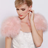 Real Ostrich Feather Bolero Furry Fur Sleelvess jacket Wraps Bridal Wedding Pink