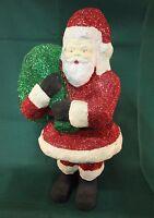 "D56 Dayton's Silvestri Paper Mache Santa Green Toy Sack and Sparkles 14"""