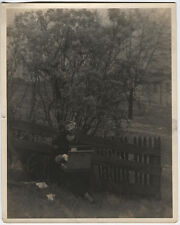 PHOTO PICTORIALISM WOMAN WITH ART/PAINTING BOX UNDER TREE.