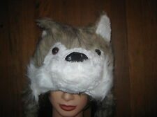 NEW Fluffy Wolf beanie with scarf and hand pocket  (you choose colour) x 1