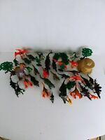 huge Lot of Small Plastic Dinosaur rock trees Toys