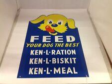 Vintage Ken-L Ration Dog Food Metal Advertising Sign. 518-W
