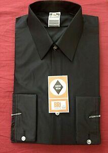 "BNIB-Vintage 1960's Dress Wear ~ Black Bri-Nylon l/sleeve shirt 16"" mod-wear"