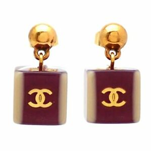 Auth Vintage Chanel stud earrings CC logo plastic silver round #af263
