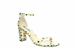 Stuart Weitzman Womens Nearlynude Cream Dot Spotted Snake Ankle Strap Heels Size