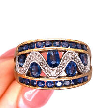 Ring in 10k Yellow Gold 1.75ct Sapphire and Diamond Right Hand