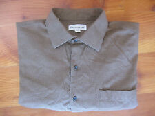 PRONTO UOMO Mens Herringbone Brown Long Sleeve Dress Shirt Size L Large