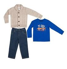 Boys Rock 3-Pc Outfit Set Cable-Knit Cardigan,T-Shirt,Jeans Size 3T Nwt