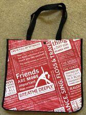 Lululemon Large Red Manifesto Reusable Tote Bag w/ Black Snap Closure