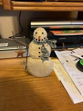 Greg Guedel Folk Art Original Carved Wood Snowman, Early piece Signed & Dated